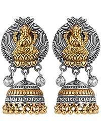 Peora Oxidised Silver Indian Goddess Laxmi Design Temple Jhumki Earrings for Women