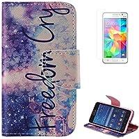 Funda para Samsung Galaxy Grand Prime SM-G530(con Gratis Pantalla Protector),CaseHome único Patrón(Grito de la Libertad) Vistoso Piel Cuero Billetera[Ranuras para Tarjetas][Soporte Function][Cierre Magnético][TPU Parachoques][Anti-Arañazos] [Choque Absorción]Alta Calidad Flip Libro Estuche Leather Cartera Caja para Samsung Galaxy Grand Prime SM-G530