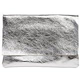 CASPAR TL770 große Damen Metallic Envelope Leder Clutch Tasche Abendtasche, Farbe:silber;Größe:One Size