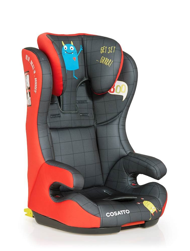 Cosatto Hubbub Isofix Group 123 Car Seat, 9-36 kg, Monster Mob Cosatto Suitable from 9 kg-36 kg (9 months-12 years approximately) ISOFIX Cosatto five point plus anti-escape system Side impact protection, compfy padded armest and six position adjustable head rest height 2