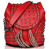 Miss Lulu - Bolso mochila de cuero de imitación para mujer Rojo bolso espacial