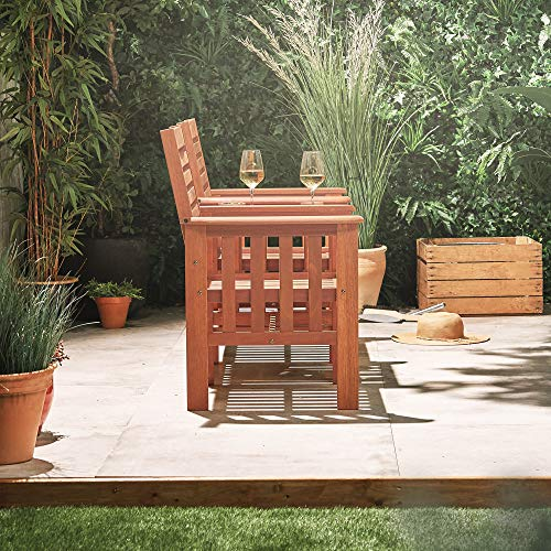VonHaus Garden Love Seat Bench – 2 Seater Hardwood Outdoor Patio Furniture Set with Built-in Parasol Hole