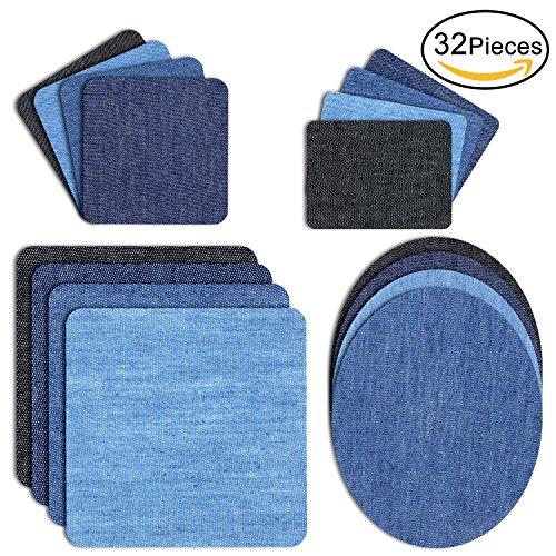 Denim-patch-kit (DigHealth 32 Stück Patches zum aufbügeln, Aufbügelflicken Bügelflicken, Bügeleisen Denim Patches Reparatursatz, Dekoration für Jeans Kleidung, 4 Größen 4 Farben)