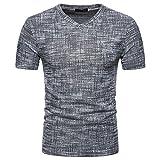 Rawdah Nouveau Mode T-Shirt à Manches Courtes Brossé Couleur Unie Été Confort Sportswear Loisirs Summer Casual SOID Trou V Neck Pullover T-Shirt Top Blouse (XL, Noir)