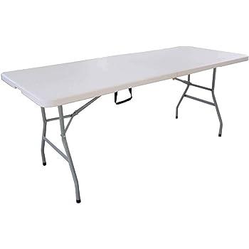 table pliante blanc noir 180 x 75 x 74 cm 101587 jardin. Black Bedroom Furniture Sets. Home Design Ideas