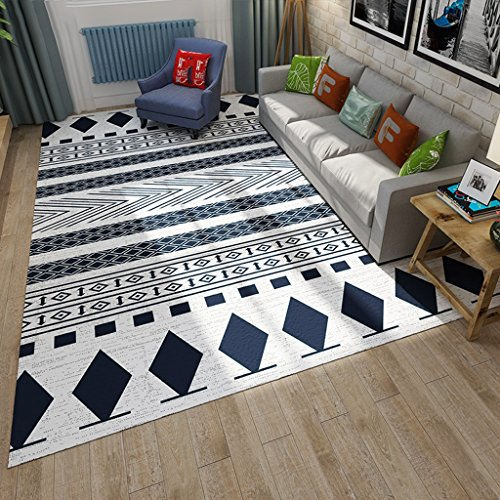 Cqq alfombra Estilo nórdico simple alfombra de la sala de estar Moda moderna blanco y negro mesa de café geométrica dormitorio Alfombras de la alfombra de la cama ( Color : A , Tamaño : 140*200cm )