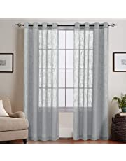 Linenwalas Hand Block Cotton Curtain with Cushion Cover and Korona, Slub Linen Sheer Curtains