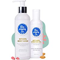 The Moms Co. Dry Skin Combo Pack with Body Wash (200ml) and Stretch Oil (100ml) For Moms and Moms To Be