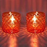 EarthenMetal Handcrafted Cylinderical Shaped Rusty-Orange Coloured Candlelight Holder-Set Of 2