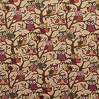 Beige Búhos Árboles 100% pesado algodón Panamá cortina para niños impreso cojín tela ...