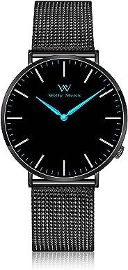 Welly Merck Damen-Armbanduhr Analog Schweizer Quarz mit schwarzem Edelstahlarmband W-C10M2