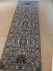 NEW TRADITIONAL BEIGE/BROWN/CREAM PANEL HALL RUNNER RUG 70 x 230 cm