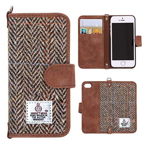 iPhone 7 Hülle , Schutzhülle HandyHülle iPhone 8 MONOJOY Leder Tasche [Harris Tweed ] [Kartenfach] [Magnetverschluss] fur iPhone 7 / 8 (Braun) Nokia Cellular Phone Pda