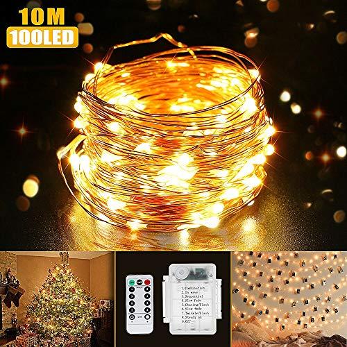 Luci di Natale, Beexcellent Catena Luminosa Stringa 100 LEDs IP65 Impermeabile 10m...