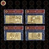 Generic NEU von mit WR Luxus Heimdekoration, Silber, Gold, 24-K 999.9versilbert mit Papier mit Euro-Kunststoff-mit Tasche, Vergoldetes Metall, Typ 2, Size:Original Banknote Size