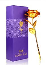ShopAIS 24K Gold Rose with Gift Box and Carry Bag - Best Gift On Valentine's Day, Rose Day. Dipped Rose with Gift Box