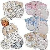 Pucksack Set 5 tlg. Newborn Frühchen Schlafsack Strampelsack Baby Gr. 50-68 (56 - 5 tlg.Set, Beige - Eselchen)