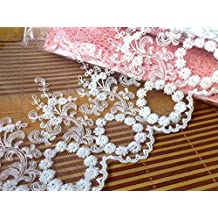 Iovry - Cinta de encaje bordada de malla de 17,78 cm de ancho,