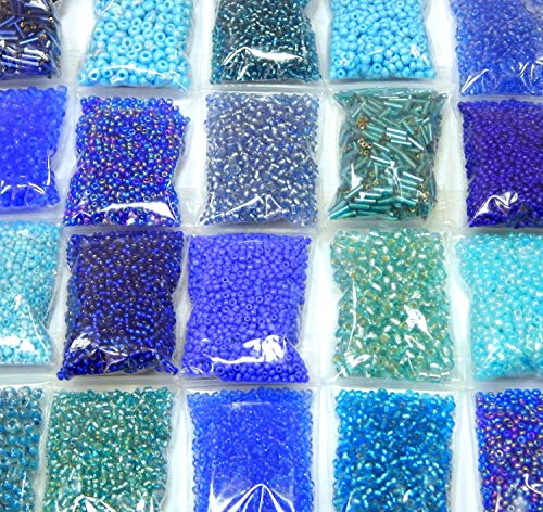 Roccailles Rocailles Perlen Blau Aqua Sapphire Set