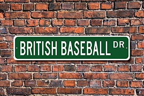 MNUT Metallschild mit britischem Baseball-Baseballschild, britischer Baseball-Fan, UK-Spiel, Metall-Tür-Dekoschild, 40,6 x 10,2 cm
