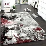 Teppich Modern Designer Teppich Leinwand Optik Meliert Schattiert Grau Rot Creme, Grösse:160x230 cm
