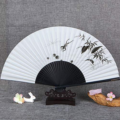XIAOHAIZI HandfächerFächerFoldingFans Vintage Chinesischer Stil Papier Fan, Tuschemalerei, Botanische Blume, Frosch Schwarz Griff, Damen Faltfächer Dance Fan -