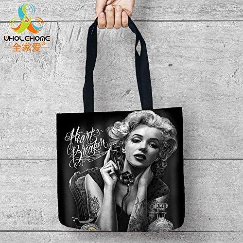 Generic 4, NA: Totenkopf Marilyn Monroe Einkaufstasche Aufbewahrungsbeutel Komfort Frauen Schulter Handtaschen Leinen Tasche für Gemüse und Obst 1