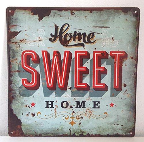 Blechschild Blech Schild Metallschild Nostalgie Retro HOME SWEET HOME türkis (Home) (Home Schilder)