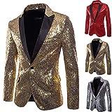 Zarupeng Herren Pailletten Blazer Casual EIN-Knopf-Anzug Slim Fit Anzug Blazer Mantel Jacke Performance-Kostüm für Hochzeit und Party (M, Schwarz)