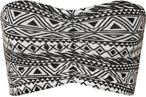 WearAll - Damen Bedruckt Trägerlos Crop Bandeau Top - Klein Aztec - 34-36 (Bandeau Kleidung)
