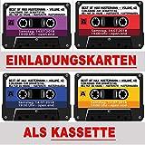 Kassette als Einladungskarten Kassetten Einladung - 4 Farben zur Auswahl Geburtstag Party 40 Stück Musikkasette CD Schallplatte cassette Mann Frau