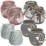 LS Design 2x Windlicht Glas Kugel Teelichthalter Kerzenständer Kerzenhalter Shabby Grau Herz 11,5x10,5cm 2 Stück