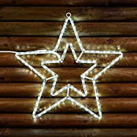 Stella doppia in tubo luminoso LED, h. 60 cm, led bianco freddo, giochi di luce, stelle luminose, figure natalizie, luci di Natale