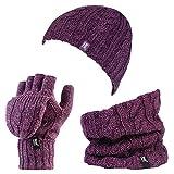 HEAT HOLDERS - Set de bufanda, gorro y guantes - para mujer Morado Purple Marl Talla única