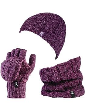 Heat Holders - Donna in pile termico cavo Cappello di lana, impostare scaldacollo e guanti Converter (Porpora...