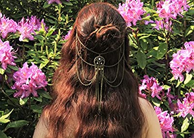 Bijou de tête bohème/accessoire cheveux/coiffe chaînes bronzes/coiffure tribale femme/hippie/ cadeau pour elle/look été