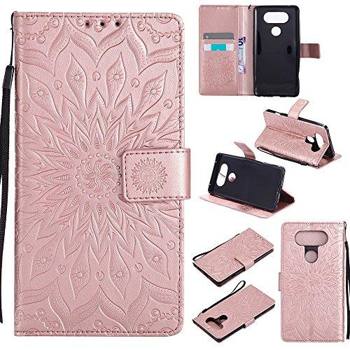 Für LG V20 Fall, Prägen Sonnenblume Magnetic Pattern Premium Soft PU Leder Brieftasche Stand Case Cover mit Lanyard & Halter & Card Slots ( Color : Purple ) Rose Gold