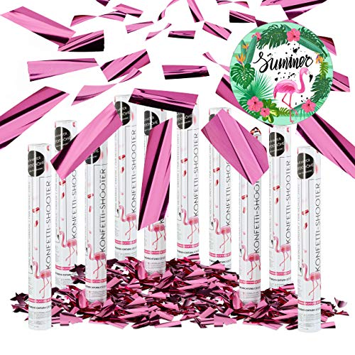 10er Set Party Popper Pink, Party Shooter Metallic, 40 cm Konfetti Kanone für Junggesellinnenabschied, JGA, Geburt, rosa