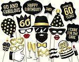 Veewon 60ème anniversaire Accessoires de cabine photo Unisexe Kit de bricolage 34pcs adapté à sa 60ème célébration d'anniversaire