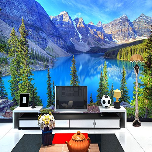 Preisvergleich Produktbild Wolipos 3D Tapete Wandbild Mountain Peak Park Landschaftsmalerei Wandaufkleber 350cmX260cm