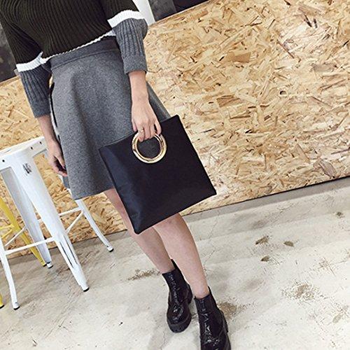 Milya Damen Clutch Herbst und Winter Trend Elegante Moderne Damen Brieftasche Ledertasche Abendtasche Weichen PU Leder, Schwarz Schwarz