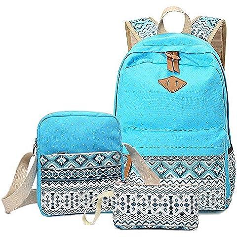 Minetom Mujer Lona Backpack Tipo Casual Mochila Escolar Cartera Del Bolso La 3Pcs