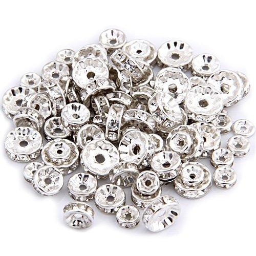 Gleader Zwischenelement für Perlenkette, versilbert, mit Strass, zum Basteln, Dekorieren, Herstellen von Halsketten, Schmuck, 6, 8, 10mm, 75Stück