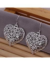 joyliveCY Unique Style 925 Silver Stud Earings Scrub Flower Hollow Big Love Heart