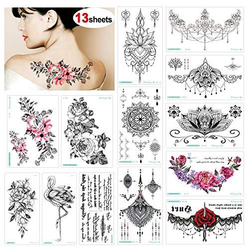 Konsait Tatuajes temporales para adultos Mujer (13 hojas), impermeable Flor Tatuaje Temporal negro Tribal Mandala Adhesivos Tatuajes de cuerpo temporales brazo cuello