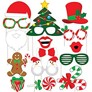 Discount Retail Christmas Photo Booth Party Props Laser Cut Diy Kit for Christmas Party