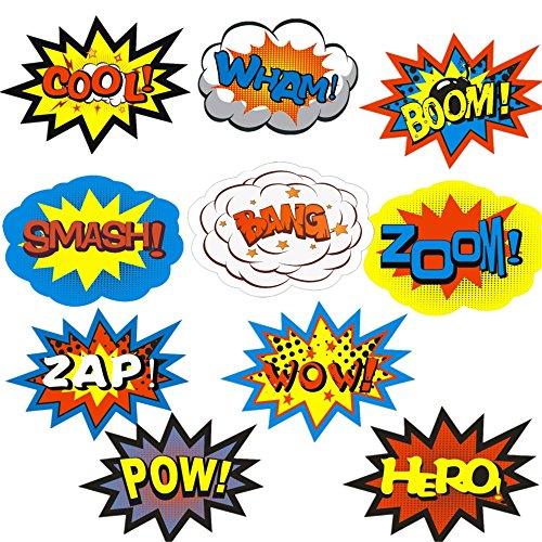 cm * 16cm Superhero Party Aufkleber für Kinder Craft Superheld Wort Einbauöffnungen (Diy Kinder Superhelden Kostüme)