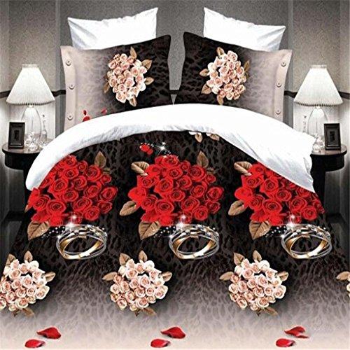 GHFDSJHSD Bettbezug-Set mit 3D-Effekt Bettwäsche Vierteiliges Set rot Rose 3D-Druckeffekt Weich Polyester Mit Bettbezug Blätter 2 Kissenbezug Einzel-Doppelbett, D -