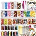 KUUQA 61 Packs Slime Supplies Kit, incluyendo Fishbowl Beads, papel de azúcar, rejilla, Googly Eyes, Shell, rebanadas, confeti, bolas de espuma de lodo, hoja de imitación de oro para la fabricación de baba artesanía de bricolaje de KUUQA