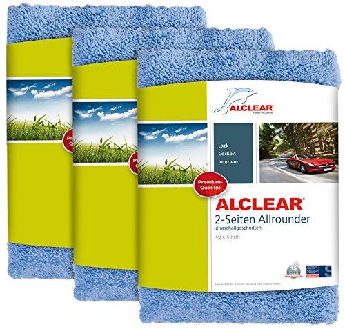 ALCLEAR Poliertücher 2-Seiten-Allrounder für Auto Motorrad & Poliermaschine, Detailing Mikrofaser Poliertuch Set, 3er Set, saugstark 40x40 cm blau